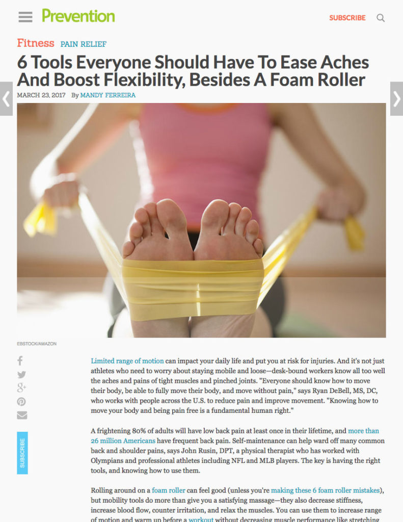 6 Tools Everyone Should Have To Ease Aches And Boost Flexibility, Besides A Foam Roller - Prevention Mandy Ferreira Portfolio