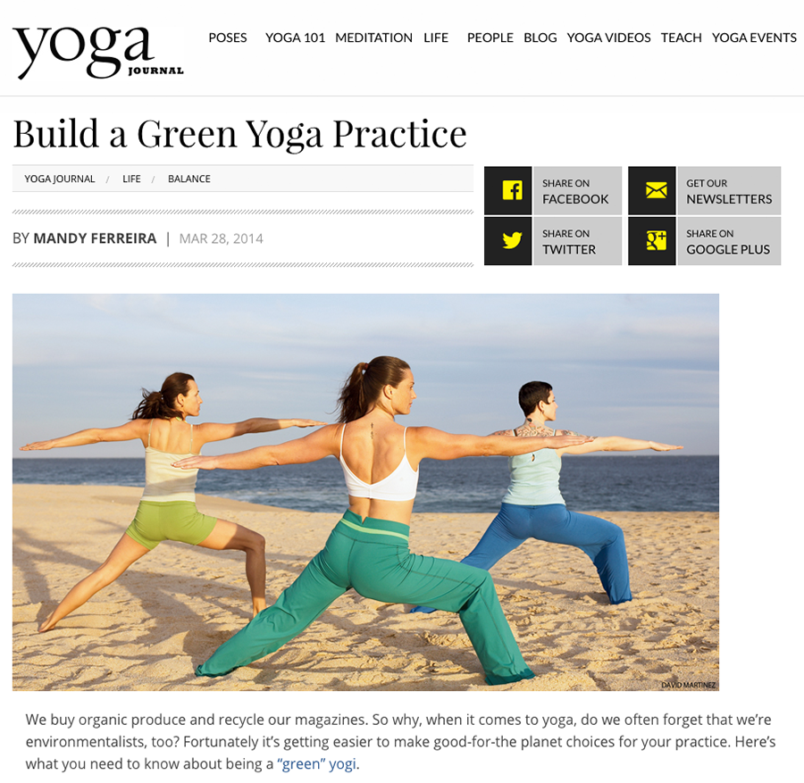 Build a Green Yoga Practice, Yoga Journal by Mandy Ferreira