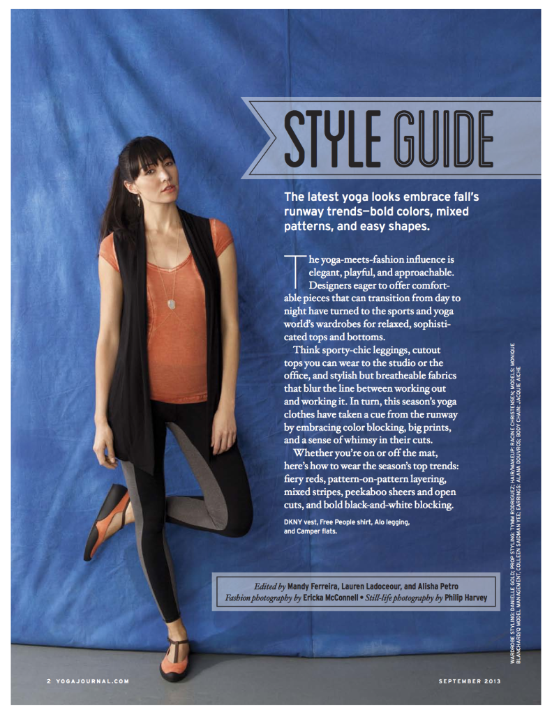 Yoga Journal September 2013 Style Guide by Mandy Ferreira