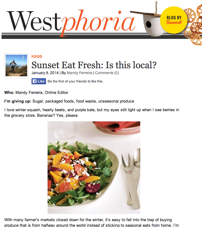 Sunset Westphoria Eat Fresh Challenge 2014 treading lightly