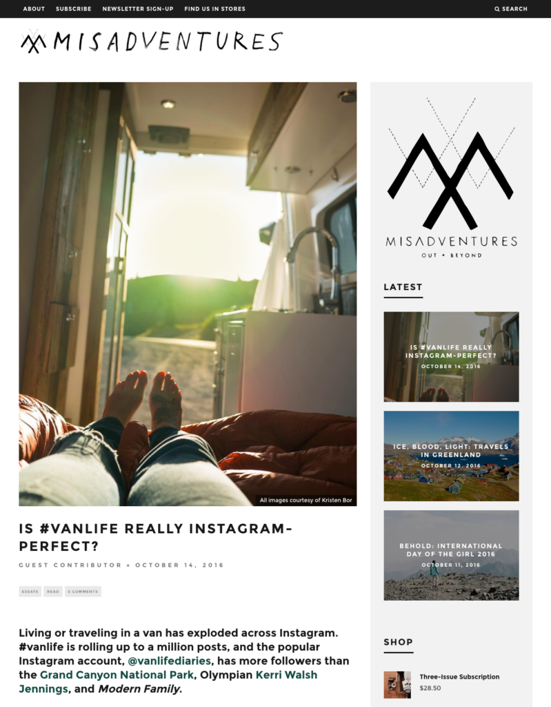 Is #vanlife really Instagram Perfect? Mandy Ferreira for Misadventures October 2016