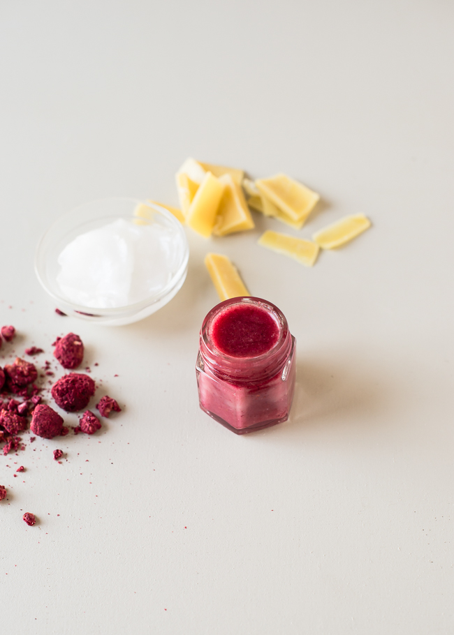 Homemade Beauty Gifts - DIY Tinted Raspberry Lip Balm from Hello Glow