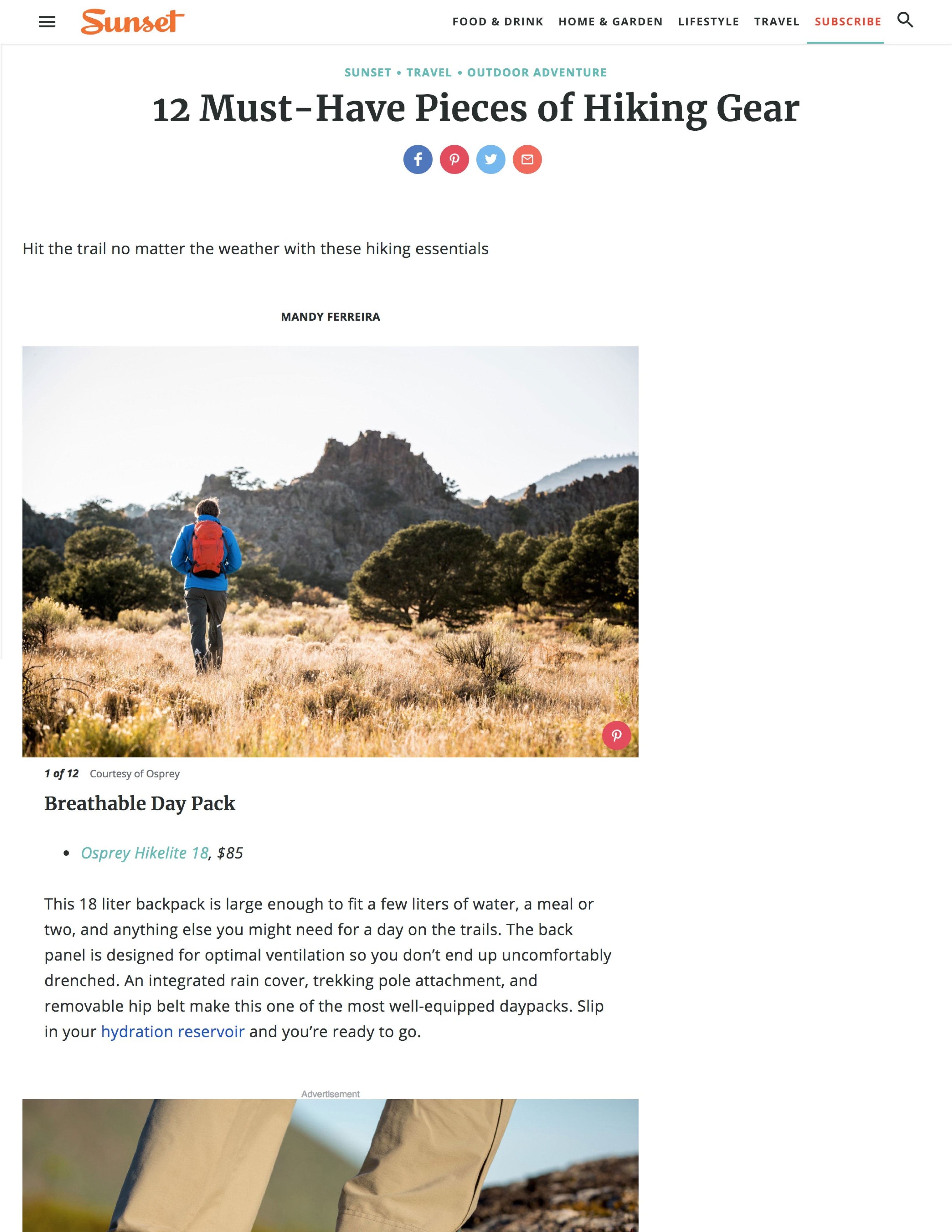 12 Must-Have Pieces of Hiking Gear by Mandy Ferreira Sunset Magazine